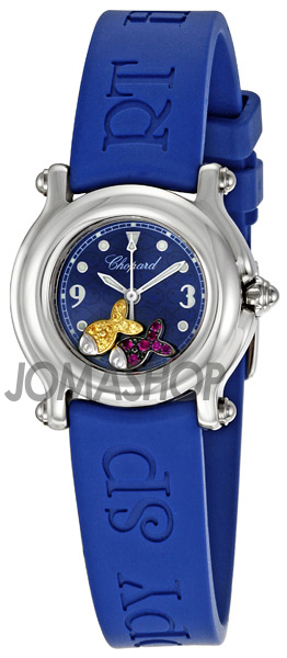 Chopard Happy Beach Jeweled Fish Steel Blue Mini Ladies Watch 27/8923-402