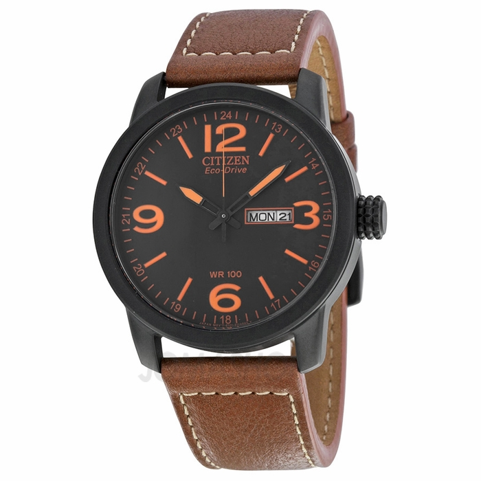 citizen eco drive black brown leather s