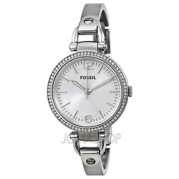 fossil georgia glitz silver dial stainless steel bangle