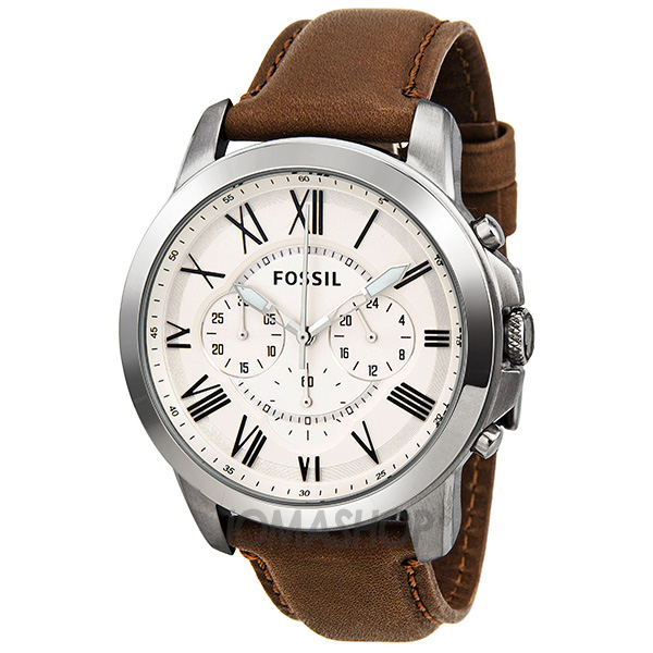 Fossil Grant Chronograph Egg Shell Dial Brown Leather Men ...