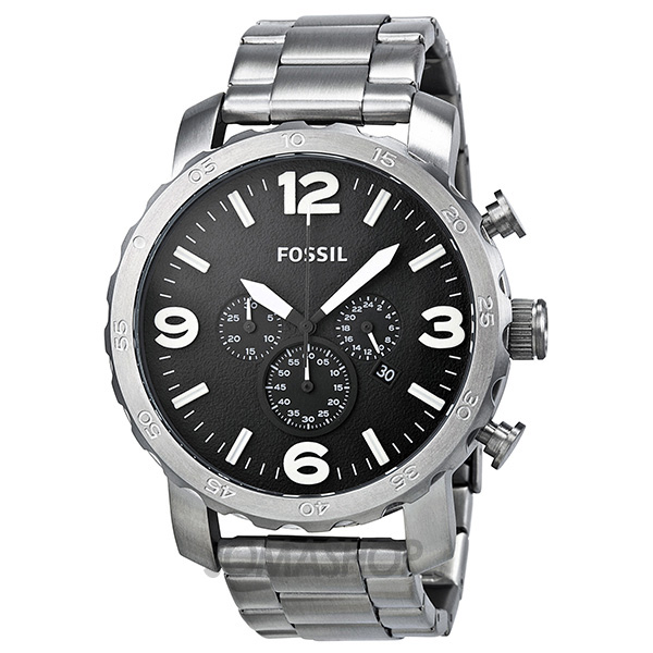 fossil nate chronograph stainless steel s jr1353