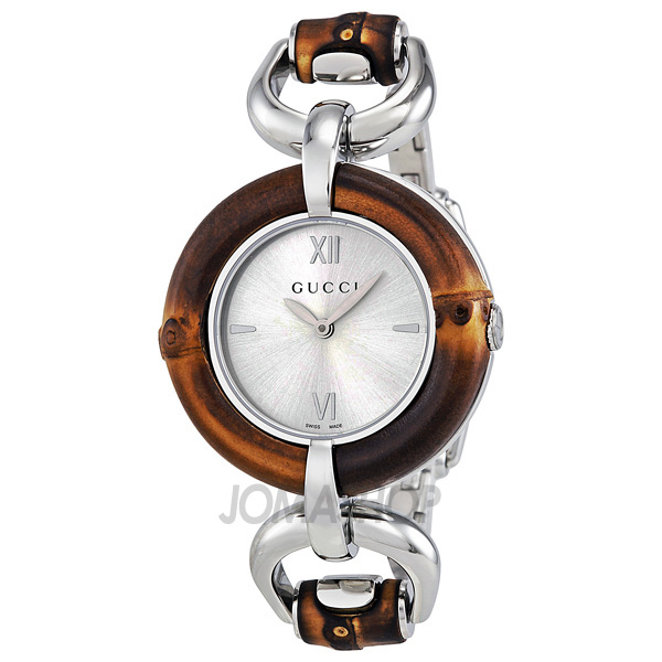 Gucci Silver Dial Bamboo And Stainless Steel Ladies Watch