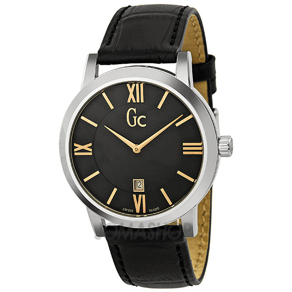 guess collection gc slimclass black stainless steel