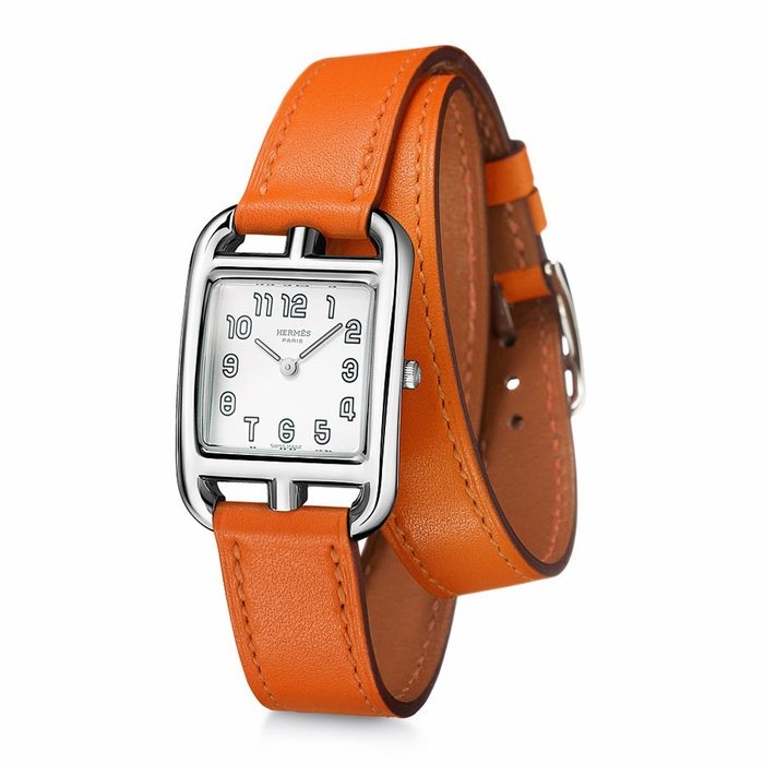 Hermes Cape Cod Silver Dial Orange Leather Ladies Watch