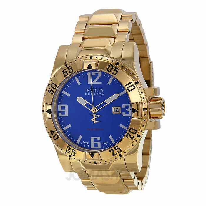 invicta excursion blue gold plated s 80600