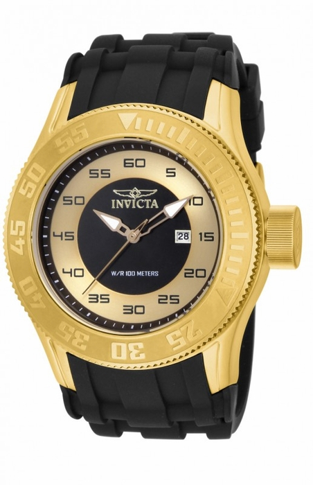 invicta pro diver black and gold black silicone s