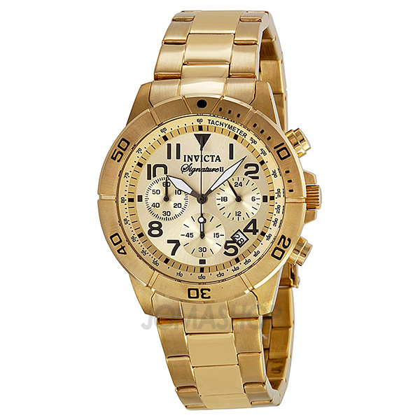 invicta signature ii chronograph gold tone stainless steel