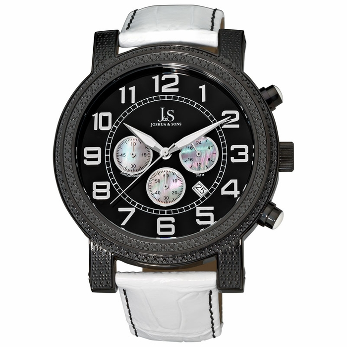 joshua and sons chronograph black white leather s