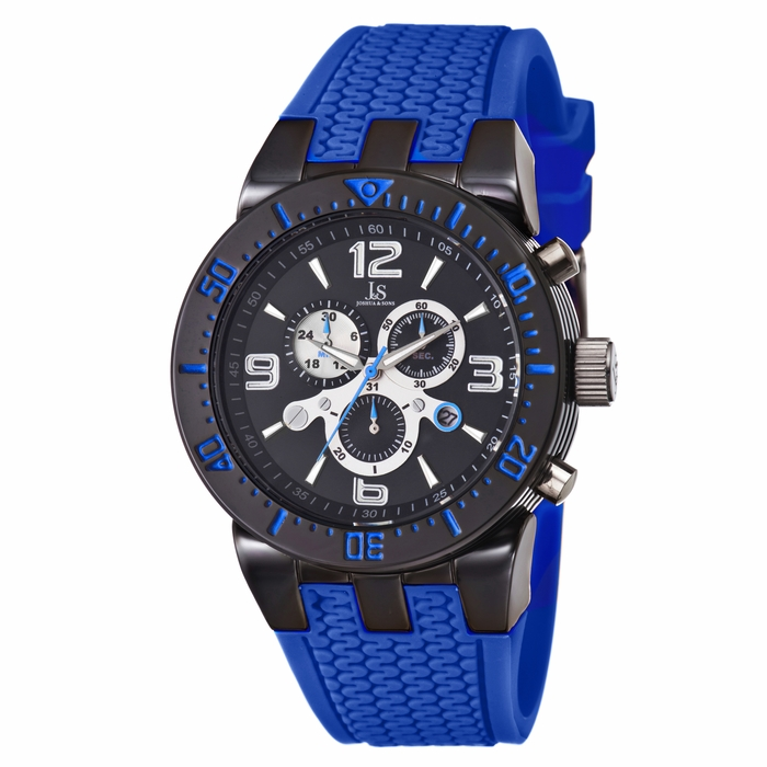 joshua and sons chronograph black blue silicone s