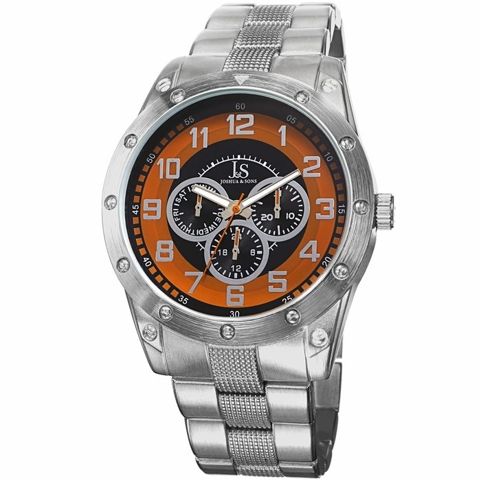 joshua and sons silver tone chronograph s js47or