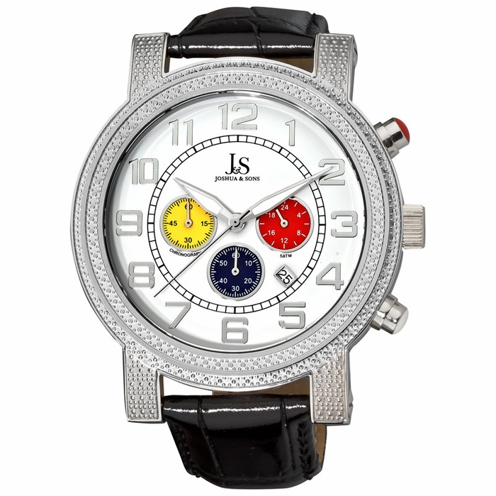 joshua and sons white chronograph s js 07 ss