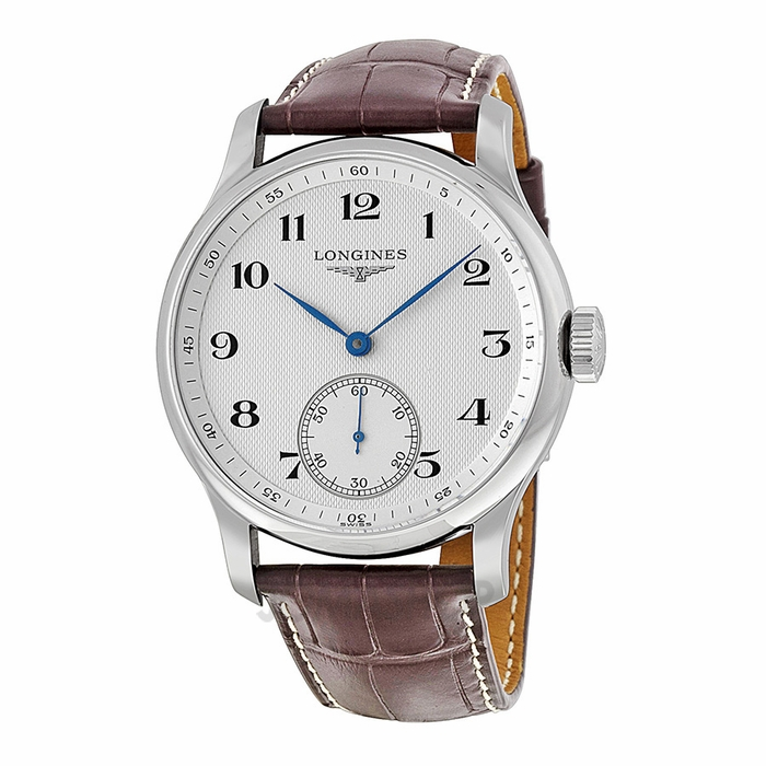 longines master collection silver brown leather s
