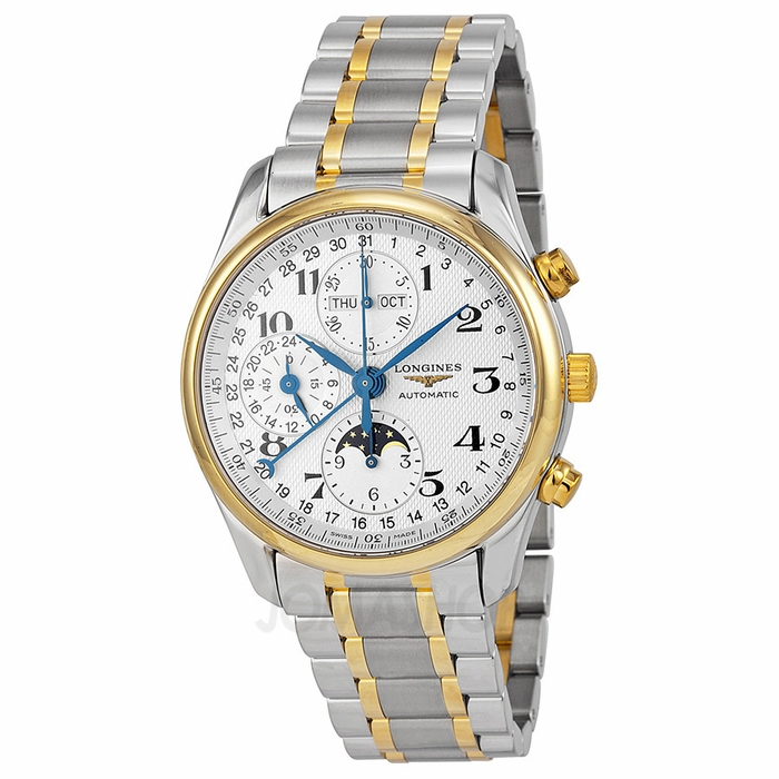 longines master collection chronograph white steel