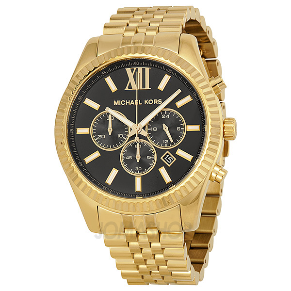 michael kors chronograph black gold tone