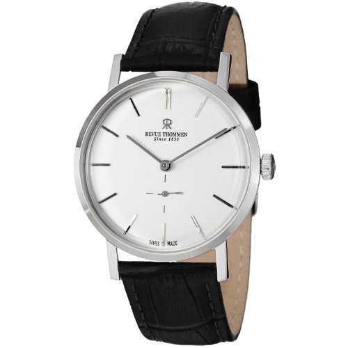 revue thommen classic mechanical white black leather
