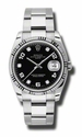 Rolex Date Black Diamond Dial 18k White Gold Fluted Bezel Oyster Bracelet Mens Watch 115324BKADO