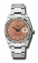 Rolex Date Pink Arabic Diamond Dial White Gold Fluted Bezel Oyster Bracelet Mens Watch 115234PADO