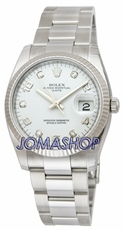 Rolex Date White Diamond Dial Fluted Bezel Mens Watch 115234WDO