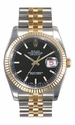 Rolex Datejust Black Index Dial Jubilee Bracelet Two Tone Mens Watch 116233BKSJ
