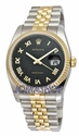 Rolex Datejust Black Jubilee Roman Dial Jubilee Bracelet Two Tone Mens Watch 116233BKJRJ