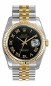 Rolex Datejust Black  Sunburst Roman Dial Jubilee Bracelet Two Tone Mens Watch 116233BKSBRJ