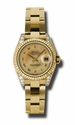 Rolex Datejust Champagne Decorated Mother of Pearl Dial 18kt Yellow Gold Diamond Ladies Watch 179238CMRO