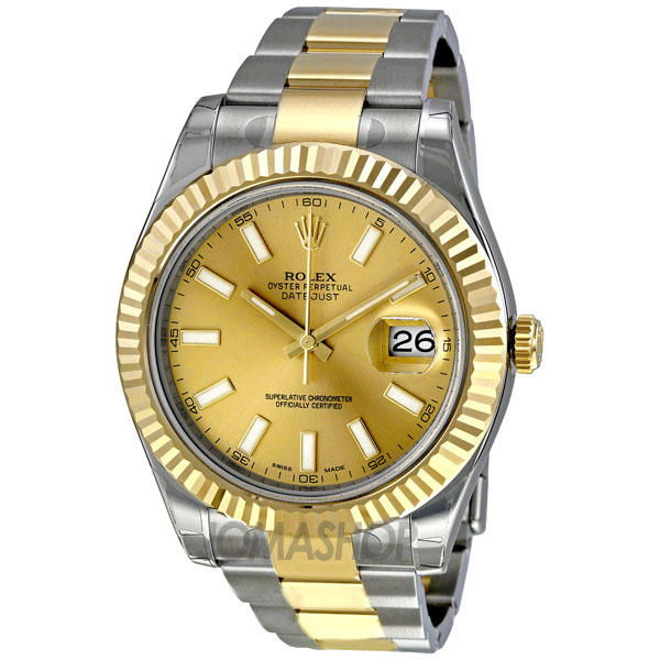 rolex datejust ii chagne 18k two tone gold s