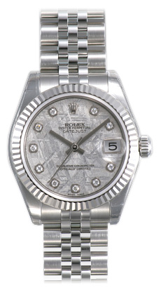 Rolex Datejust Meteorite Diamond Dial Jubilee Bracelet 18k White Gold Fluted Bezel Unisex Watch 178274MTDJ