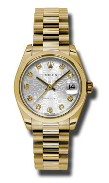 Rolex Datejust Siver Jubilee dial Sutomatic 18kt Yellow Gold President Ladies Watch 178248SJDP