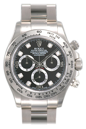 Rolex Daytona Black Diamond Oyster Bracelet 18k White Gold Mens Watch 116509BKDO