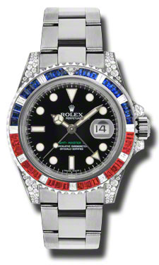 Rolex GMT Master II Black Automatic 18kt White Gold Oyster Mens Watch 116759BKSARU