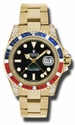 Rolex GMT MASTER II Black Automatic 18kt Yellow Gold Oyster Mens Watch 116758BKSARU