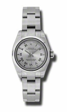 Rolex No Date Rhodium Roman Dial Domed Bezel Stainless Steel Oyster Bracelet Ladies Watch 176200RRO