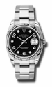 Rolex Oyster Perpetual Date Black Diamond Dial 18kt Fluted White Gold Bezel 34 MM Mens Watch 115234BKDO