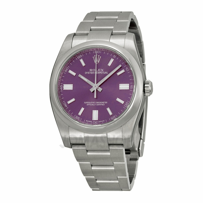 rolex oyster perpetual 36 mm purple stainless steel