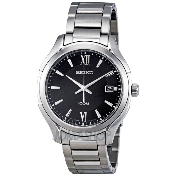 seiko black stainless steel s sgef69
