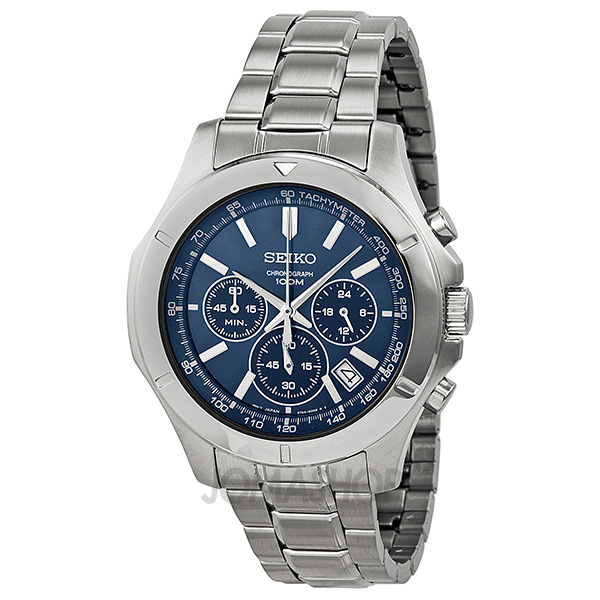 Seiko Chronograph Blue Dial Stainless Steel Mens Watch SSB103-奢品汇 | 海淘手表 | 腕表资讯