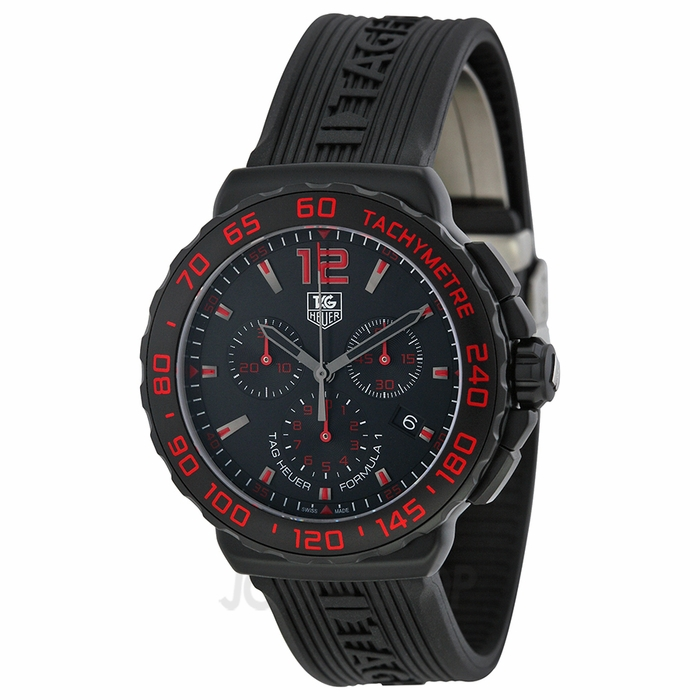 Tag Heuer Formula 1 Chronograph Black And Red Dial Black