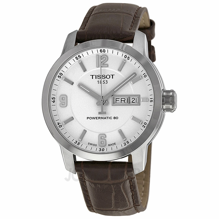 tissot prc 200 automatic white brown leather s