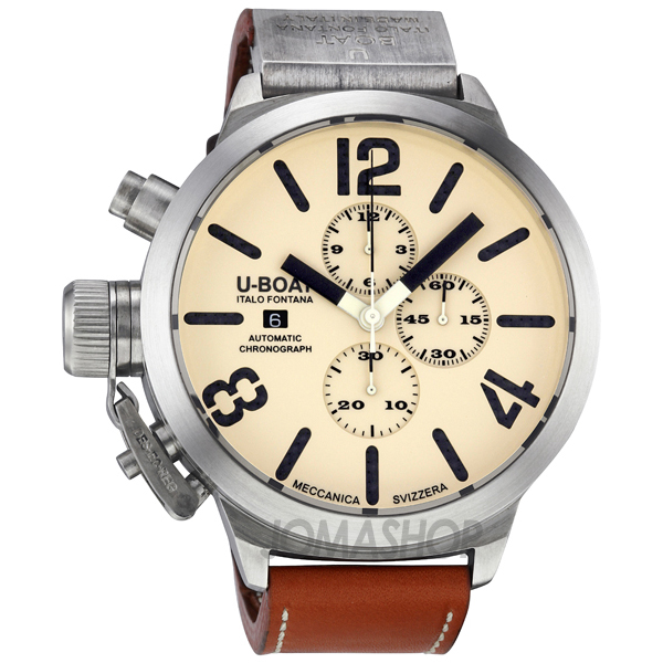 u boat beige sterling silver leather automatic s