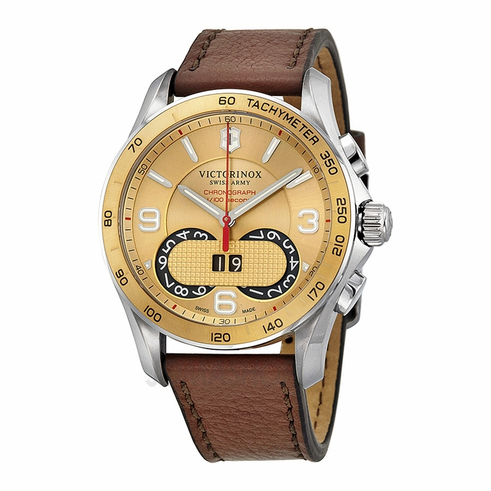 victorinox swiss army chrono classic gold brown
