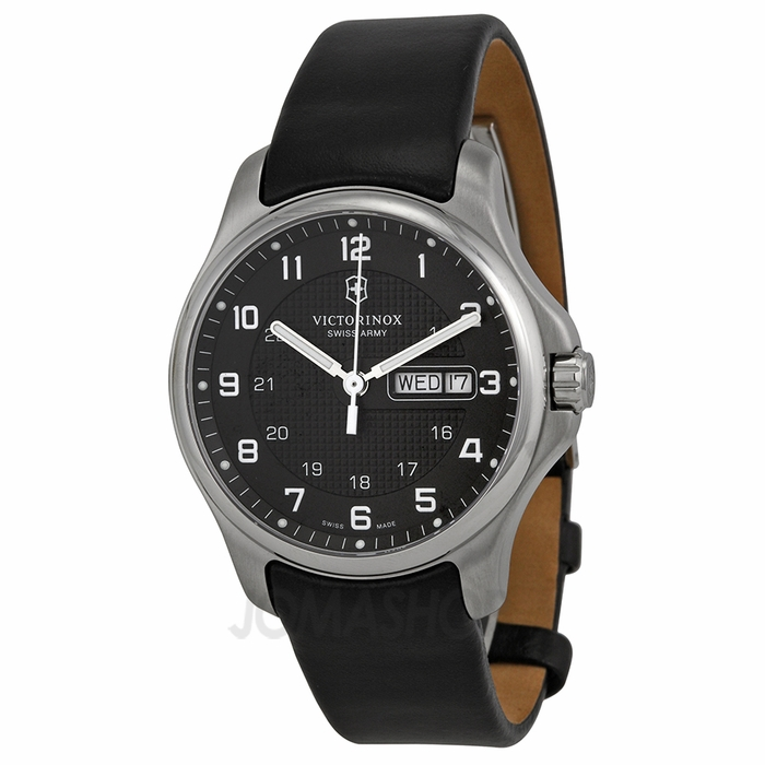 victorinox swiss army leather officers grey dial men 39 s