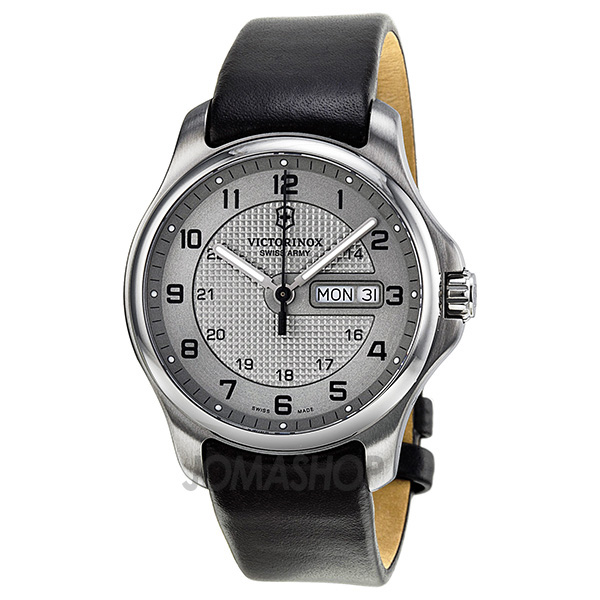 victorinox swiss army officer day date grey dial stainless