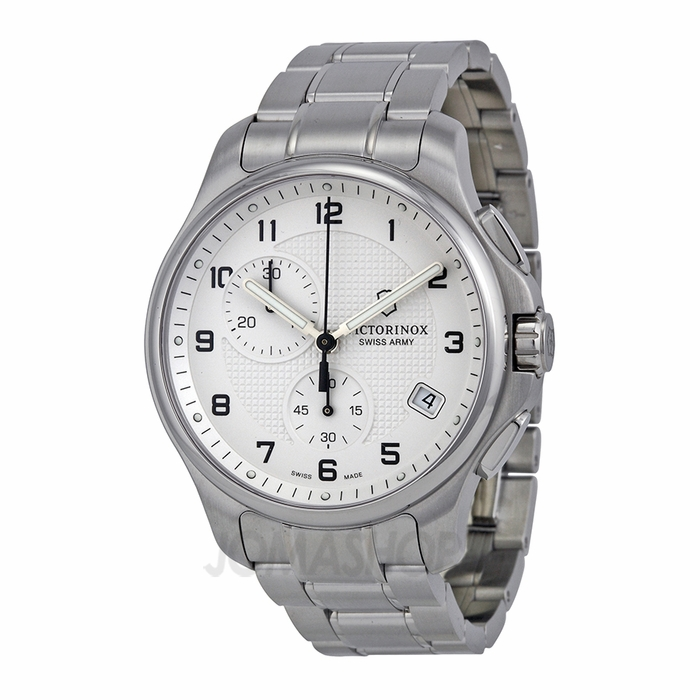 swiss army officers chronograph white dial stainless steel men 39 s watch