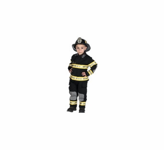 Aeromax <br />Jr. Fireman Costume (Black)