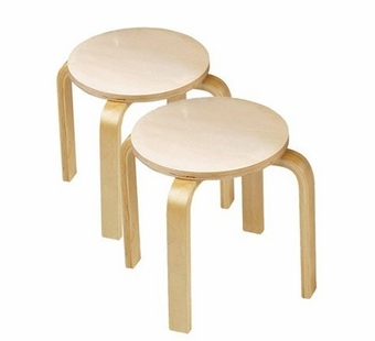 Anatex <br />Wooden Sitting Stools (set of 2)