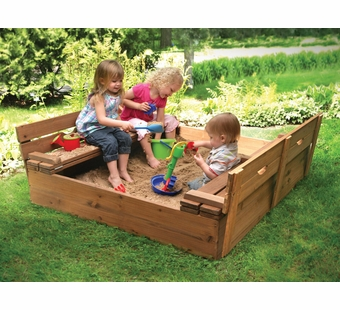 Badger Basket <Br />Cedar Sandbox with Two Bench Seats