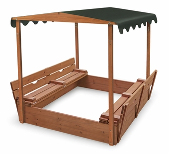 Badger Basket <Br />Covered Convertible Cedar Sandbox With Canopy and Two Bench Seats