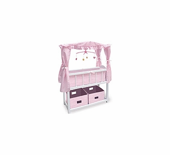Badger Basket Doll Furniture <br />Canopy Doll Crib with Baskets, Bedding & Mobile