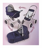Badger Basket Doll Furniture <br />English Style 3-in-1 Doll Pram, Carrier, & Stroller